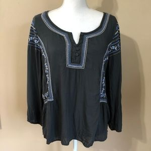 AEO | Black Embroidered Peasant Style Top  XL